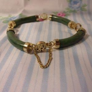 Vintage Asian Theme Jade Green Gold Tone Bracelet